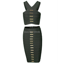 2015 new fashion women elegant dark green two piece set ladies strap celebrity party bandage Dresses(China)