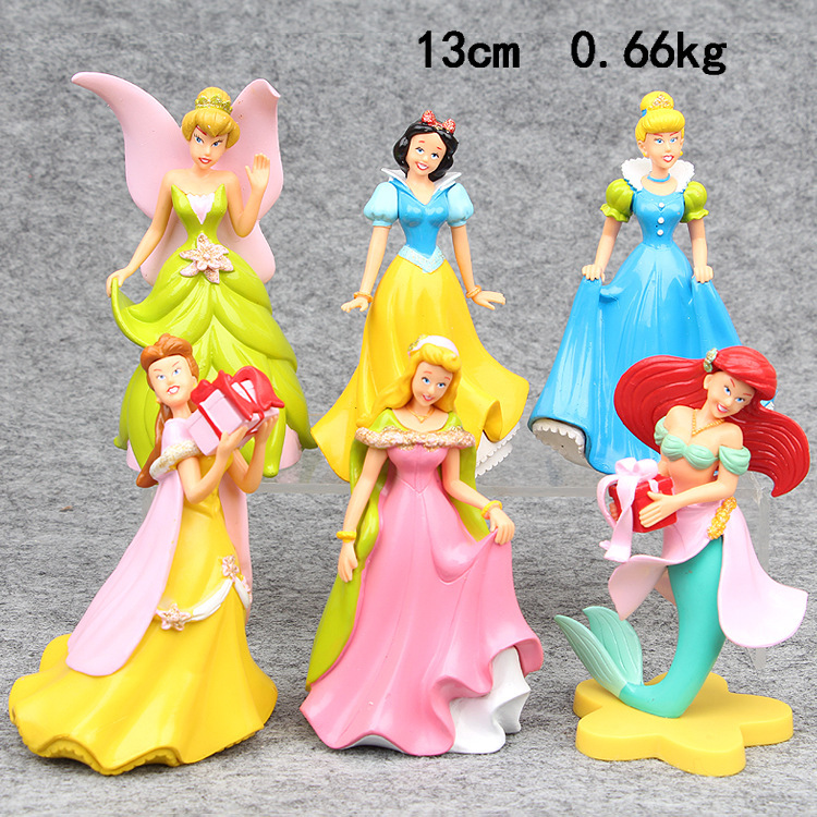 6pcs Disney 13cm Princess Dolls Toy Plastic Cake Decoration Action Figures Toys Gifts for Kids Children Christmas Gift<br>