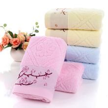 Twistless Plain Coloured Cotton Branch Plum Blossom Short Towels(China)