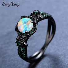 RongXing Vintage Black Gold Filled White Fire Opal Flower Rings for Women Charming Green Birthstone Jewelry Wedding Ring RB1349