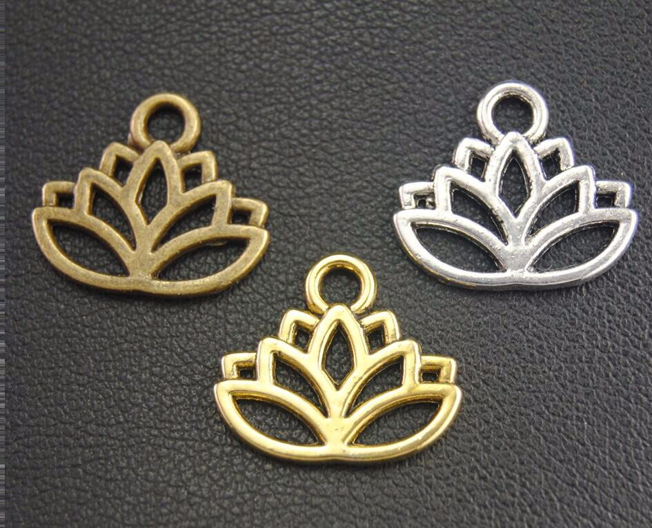 50Pcs Vintage Silver Hollow Lotus Flower Jewelry Making Charm Pendant Craft