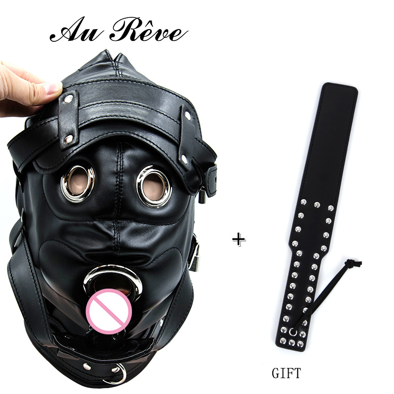 Restraint Slave Mask Leather Bondage Sex products Open Mouth Gag Fetish Bondage Hood Sex Toys For Couple Adult Games Headgear<br>