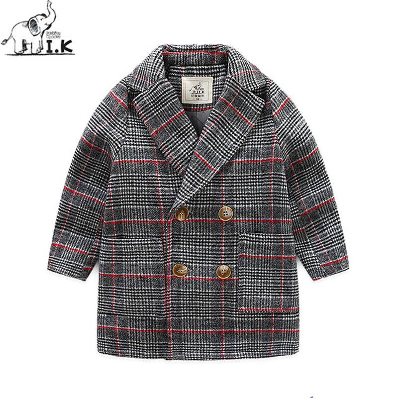 I.K Children Wool Long Coats For Winter Thick Warm Plaid Jackets Double Breasted Baby Children Kids Clothes Bobo Choose DP3019<br>