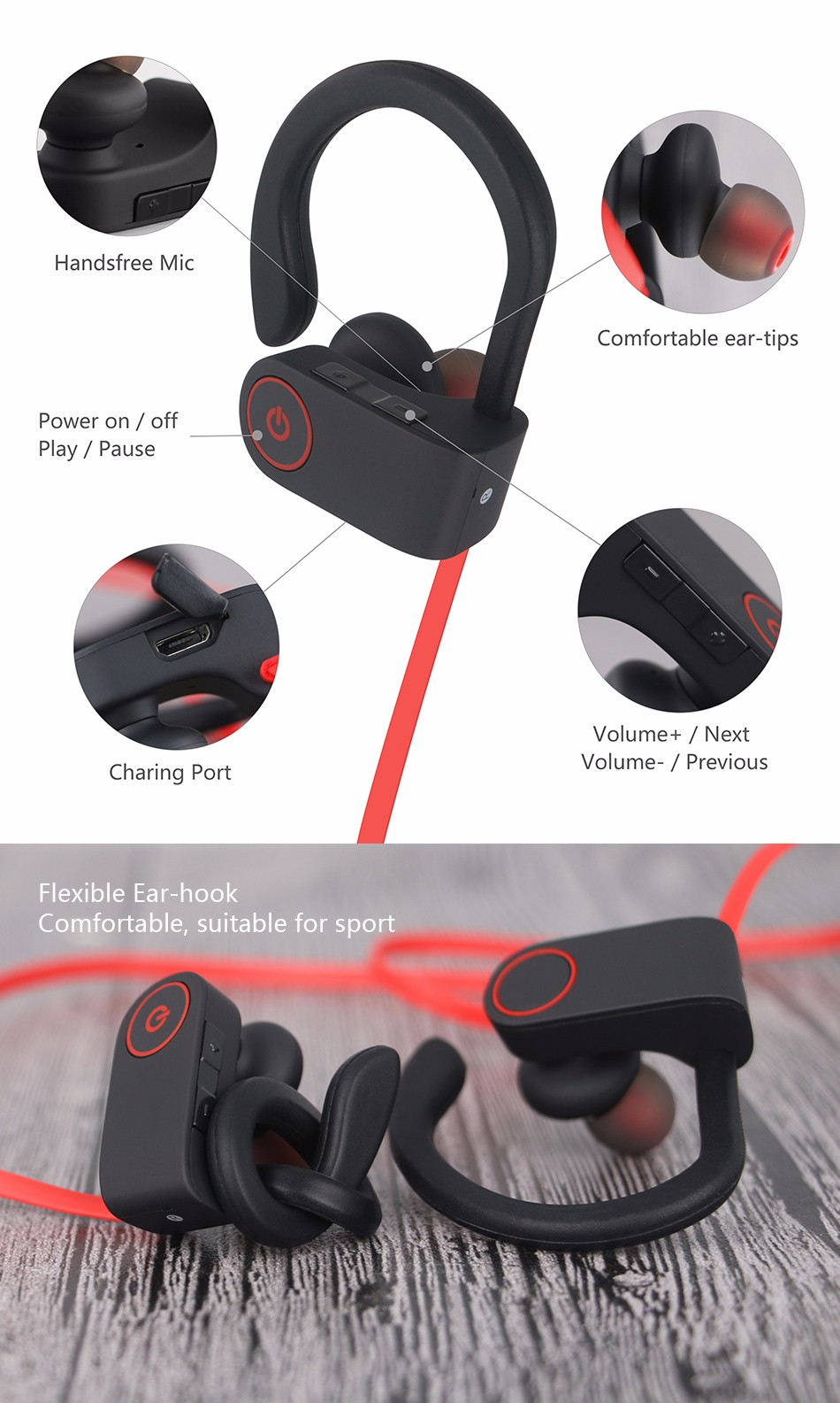 Bluetooth 4.1 Sport Headset Running Earbuds Sweatproof Earphone Stereo Bass Handsfree Earpods Airpods with Mic For Xiaomi iPhone