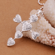 925 sterling silver jewelry fine fashion factory price popular tandem hollow out hearts cross pendant silver chain necklaceCN345(China)