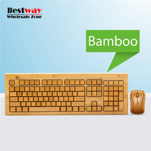 Wholesale Wireless Keyboard And Mouse Combo Bamboo Wireless Mouse Keyboard Set Support OEM Logo Printing Teclado E Mouse Sem Fio