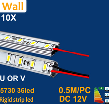 10pcs 5630 5730 0.5m LED Bar 12V Hard Rigid Strip Bar Light 36leds + Aluminium Alloy Shell Housing CE RoHS free shipping