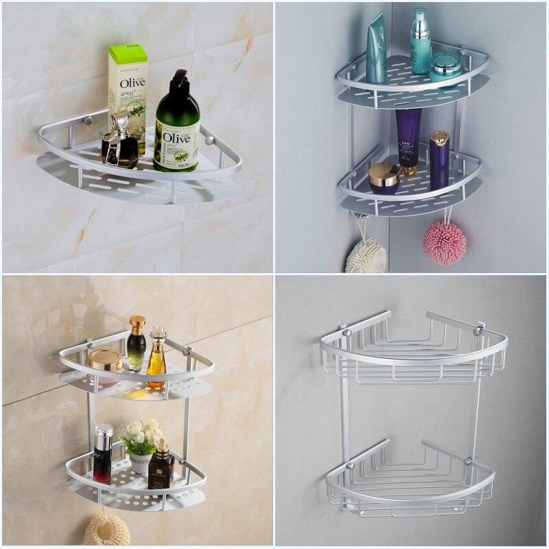 Bathroom Shelves Single Tier  Dual Tier Space Aluminum Towel Washing Shower Basket kitchen Shelf For Bathroom Rack<br><br>Aliexpress