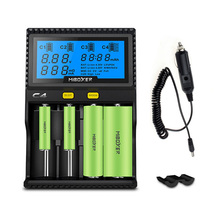 C4 Miboxer LCD Battery Charger With Car charger for Li-ion/IMR/INR/ICR/LiFePO4 18650 14500 26650 AAA 3.7 1.2V Batteries(China)