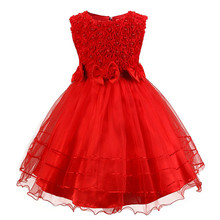 Flower Girl Red Dress For Wedding Party Kids Clothes Dress For Girl Fancy Children's Evening Prom Gown Designs Vestido Infantil