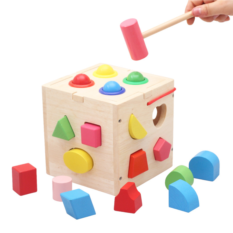17 Holes Intelligence Box Geometric Shape Sorter Cognitive and Matching Wooden Building Blocks Baby Kids Children Eductional Toy<br><br>Aliexpress