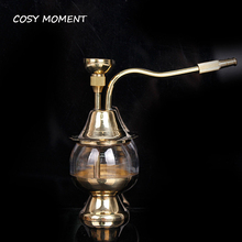 COSY MOMENT Mini Shisha Hookah Brass Glass Smoking Pipe Tobacco Water Pipe Smoking Filter For Chicha Nargile YJ277