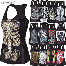 YEMUSEED new women shirt Painting Cool Pattern 3D Skull bone Camisole Sexy print Vest Tanks Tops Drop shipping(China)