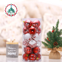 inhoo 24 PCS 6/8cm Christmas Tree Ball Baubles Xmas Party Wedding Hanging Ornament Christmas Decoration Supplies for Home Decor(China)