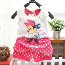 BibiCola 2017 children baby girls summer outfit set toddler kids clothing set tracksuit clothes set minnie mouse Tshirt+shorts