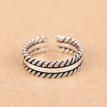 S925 Sterling Silver Ring Twist Opening Edge Pinky Ring.