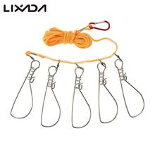 High Quality 5 Snaps Stainless Steel Fishing Stringer Rope Lanyard Live Fish Lock Belt Fishing Accessories Tackle Tool