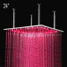 Retail - 24 Inch Stainless Steel Rainfall Led Shower Head, Color Changed without Battery, Free Shipping X15420