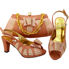Latest Peach Color Italian Shoes and Bags To Match Shoes with Bag Set Decorated with Rhinestone Women Shoes and Bag Set In Italy(China)