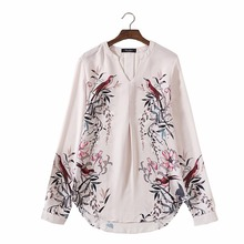 women flowers birds print V neck pleated chiffon blouses loose long sleeve vintage shirts European style casual retro tops LT888