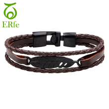 ER Black Feather Bracelet Men Vintage Real Brown Braided Leather Bracelets Wrist Band Braclet Male Hand Accessories Jewelry B029(China)