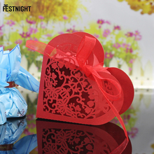 30pcs/lot Heart Shaped Paper Candy Box Laser Cut Gift Box With Ribbon for Wedding Mariage Decor Baby shower Gifts Candy Bar(China)