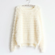 TANIAFA mohair Sweater For womens furry hair Winter Crop sweater Tops White Ladies Solid Knitted tops(China)