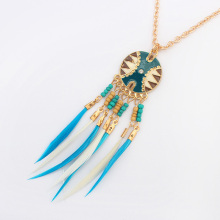 YYW Feather Sweater Necklace Brand jewelry KC Gold-color oval chain enamel rhinestone, 72cm, Sold Per Approx 28 Inch Strand