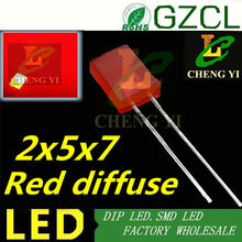 RED diffused 5mm led RED 2*5*7mm square led diode 2.0-2.2V 1000PCS free shipping(China)