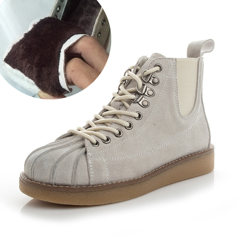 SWYIVY Genuine Leather Boots Woman Autumn Winter 2018 Plus Fur Warm Snowboots Retro High Top Casual Shoes Shell Warm Snow Boots