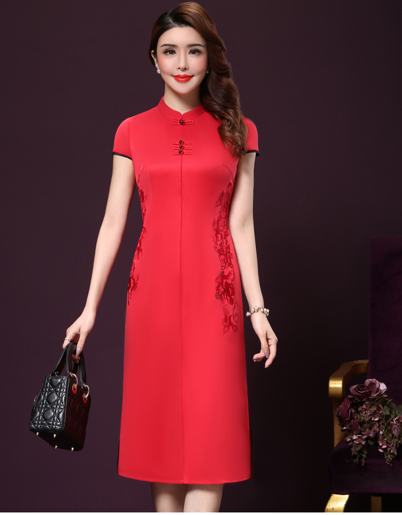 Plus size 4XL Chinese Style High-End Silk Vintage Embroidered Summer Dress Women Collar Short-Sleeve One-Step Dress female P168 14