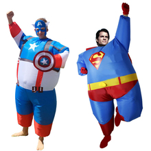 JYZCOS Inflatable Fat Superman Batman Captain America Halloween Costumes for Adult Kids Party Cosplay Superhero Fancy Dress(China)