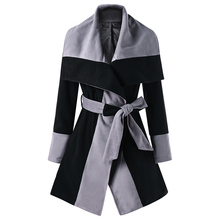 CharMma 2017 New Fashion Autumn Winter Warm Coats Jackets Women Color Block Lapel Wrap Wide-waisted Coat Female High Quality(China)