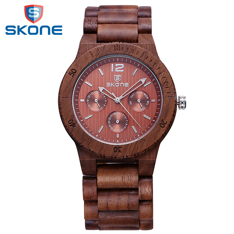 SKONE Luxury Men Watch Wooden Dress Calendar Display Multifunction Bangle Wristwatch Quartz Wood Watches Men Clock Montre Homme<br>