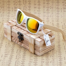 BOBO BIRD New 2016 Womens Mens Bamboo Wooden Sunglasses White Frame With Coating Mirrored UV 400 Protection Lenses in Wooden Box