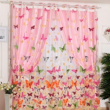 Modern Beautiful 1PC 200cm x 96 cm Butterfly Print Sheer Window Panel Curtains Room Divider New For Living Room Bedroom YL971248(China)