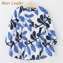 Bear Leader Girls Dress 2017 New Autumn Brand Baby Girls Long Sleeve Chinese Style Leaves Printing Kids Children Clothing Dress