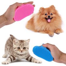 Free Shipping New Useful Comb Hair Grooming Oval Strap Bath Handle Rubber Soft Cat Pet Brush