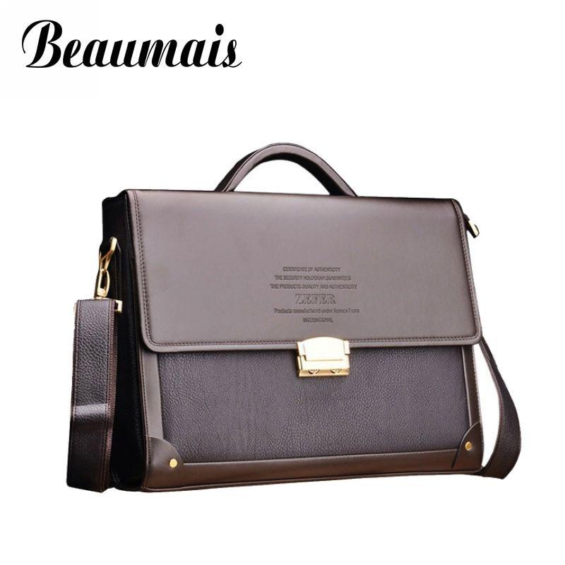 Beaumais Famous Brand Business Password Lock Safety Briefcase Men Bag Office Handbags 2017 Men Leather Messenger Bag Bolsa BG289<br>