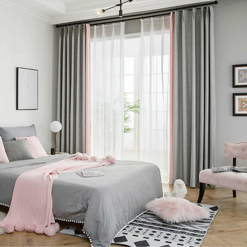 Simple Style Grey Pink Cloth Stitching Room Decor Curtains Window Drapes for Window Curtain Living Room White Sheer Curtains