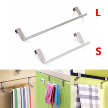 2017 New 2 Size Stainless Steel Cabinet Hanger Over Door Kitchen Hook Towel Rail Hanger Bar Holder Drawer Storage Bathroom Tools