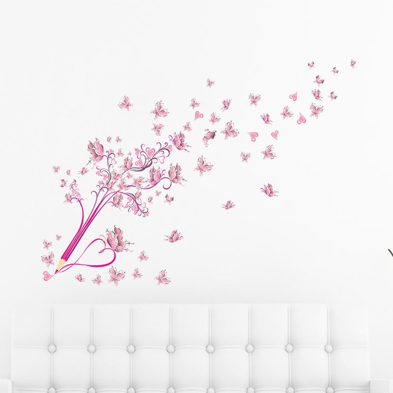 HTB1CjyZxr1YBuNjSszhq6AUsFXaI - Flying Pink Butterfly Flower Blossom Pencil Tree Wall Sticker