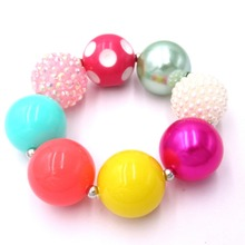 New Arrival Cheer Girls Lovely Chunky Beads Bubblegum Strand Bracelets Beautiful Gift To Baby Toddler Child Jewelry Bangle(China)