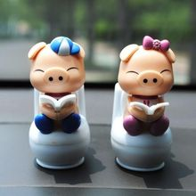 Hot Sale New Christmas Gift Cute Pig Solar Doll Solar Ornaments Car Decoration Desktop Decoration Crafts Figurines(China)