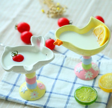 Ceramic bowls rabbit duck designs hand-painted high foot bowls ice cream cup pudding snack bowl for child feeding(China)