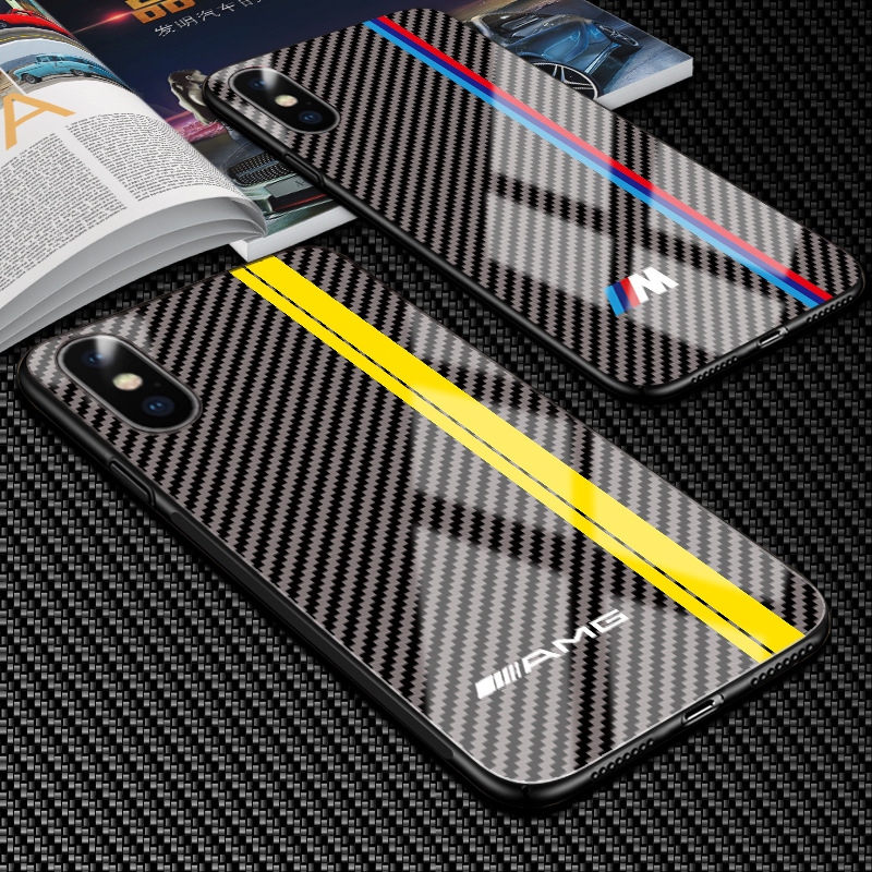 Hot Motorsport RS AMG Carbon Fiber Cover Case for iPhone 6 6S Plus 7 8 Plus X XS MAX XR GTR Luxury Tempered Glass Car Phone case(China)