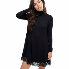 2017 Autumn New Arrival Women Sexy Black Crochet Turtleneck Lace Long Sleeve Loose Shift Dress Female Patchwork Straight Dresses
