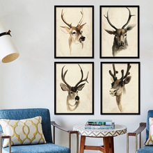 Canvas print Painting 4 Nordic style Deer Animal Can Choose Poster Wall Art Picture For Living Room Home Decor Unframed LZ630
