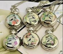Coupon for wholesale buyer price good quality silver fashion new enamel bird cage birdcage pocket watch necklace hour clock gift