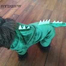 SYDZSW Funny Dog Clothing Puppy Dog Dinosaur Costume for Chihuahua Dogs Cats Green Pet Jumpsuit Rompers XS - XXL Pet Accessories